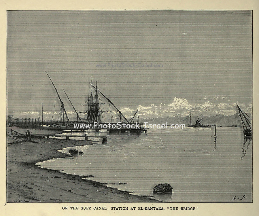 wood engraving of the Suez Canal From the book 'Picturesque Palestine, Sinai and Egypt : social life in Egypt; a description of the country and its people' with illustrations on Steel and Wood by Wilson, Charles William, Sir, 1836-1905; Lane-Poole, Stanley, 1854-1931. Published by J.S. Virtue in London in 1884