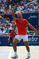 August 12, 2018 - Toronto, ON, U.S. - TORONTO, ON - AUGUST 12: Rafael Nadal (ESP) serves the ball during the Rogers Cup tennis tournament Final on August 12, 2018, at Aviva Centre in Toronto, ON, Canada. (Photograph by Julian Avram/Icon Sportswire) (Credit Image: © Julian Avram/Icon SMI via ZUMA Press)