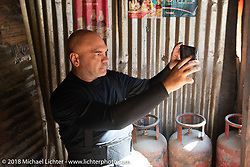 Dave Nolan during a chai stop on day-4 our our Himalayan Heroes adventure riding from Pokhara to Kalopani, Nepal. Friday, November 9, 2018. Photography ©2018 Michael Lichter.