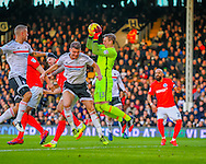 David Stockdale of Brighton and Hove Albion and Matt Smith of Fulham during the Sky Bet Championship match at Craven Cottage, London<br /> Picture by Richard Brooks/Focus Images Ltd 07947656233<br /> 02/01/2017