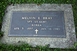 31 August 2017:   Veterans graves in Dawson Cemetery in eastern McLean County.<br /> <br /> Melvin E Bray  SP3  US Army  Korea  Apr 5 1937  Jan 18 1985
