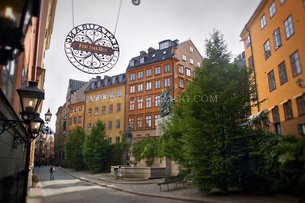 Colorful architecture in the Gamla Stan area of Stockholm, Sweden