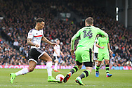 Ryan Fredericks of Fulham takes on Lee Evans of Wolverhampton Wanderers during the Sky Bet Championship match at Craven Cottage, London<br /> Picture by Richard Brooks/Focus Images Ltd 07947656233<br /> 18/03/2017