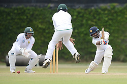 July 7, 2018 - Colombo, Western Province, Sri Lanka - Sri Lanka Borad Xl batsman Kaushal silva (R) playing a cover drive in his knock of 76runs during the day one of a two-day practice match between the Sri Lanka Board XI and South African team at P Sara Oval grounds in Colombo on 7th July, 2018, South Africa will play two Test matches, five ODI's and one T20 match in Sri Lanka. The first Test will play on July 12 at the Galle International Cricket Stadium in Galle. (Credit Image: © Sameera Peiris/Pacific Press via ZUMA Wire)