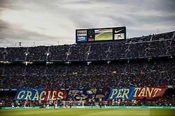 May 20, 2018 - Barcelona, Catalonia, Spain - Fans making a tribute to 08 Andres Iniesta from Spain of FC Barcelona during the La Liga football match between FC Barcelona v Real Sociedad at Camp Nou Stadium in Spain on May 20 of 2018. (Credit Image: © Xavier Bonilla/NurPhoto via ZUMA Press)
