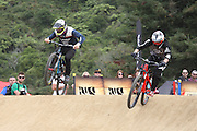 Adrien Loron, France on the right racing against Bernard Ker, Great Britain  in the semi finals of the Mons Royal Dual Speed and Style event, Crankworx Rotorua 26.03.2015