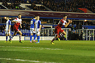 Middlesbrough's Daniel Sanchez Ayala ® celebrates after he scores his sides 2nd goal during the Skybet football league championship match, Birmingham city v Middlesbrough at St.Andrew's in Birmingham, England on Sat 7th Dec 2013. pic by Jeff Thomas/Andrew Orchard sports photography.