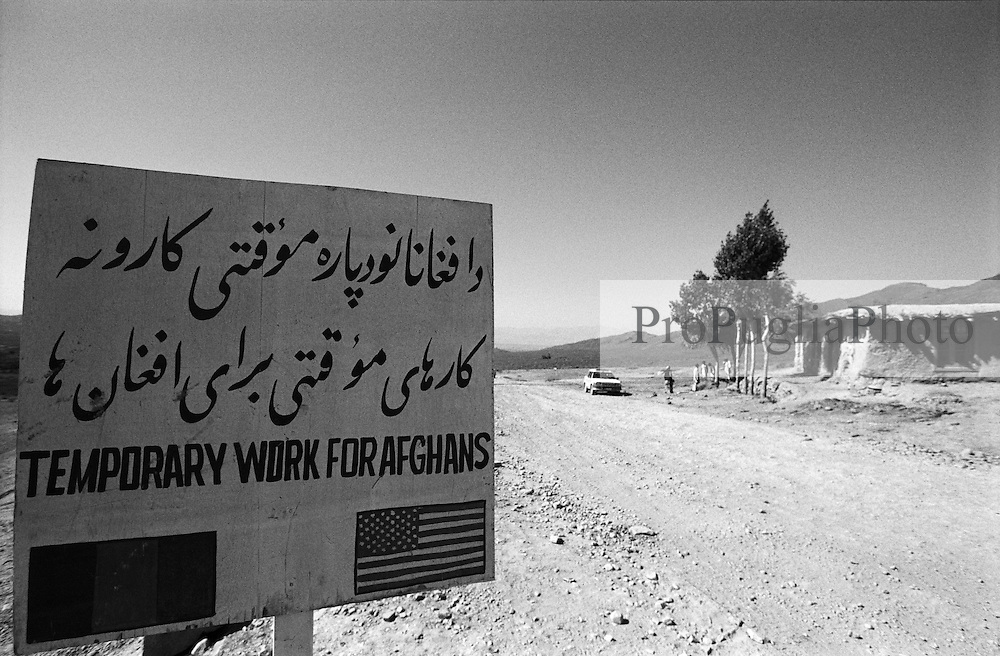 03 September 2005...A very common road-sign around Khost remind the collaboration between Afghan & USA