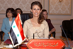 File photo - Syrian Asma El Assad attends the 2nd Arab Women Organization Conference, in Manama, Bahrain, on June 12, 2005. Syria's British-born first lady Asma Assad has begun treatment for breast cancer. The Syrian presidency posted on its Facebook page a photo of President Bashar Assad sitting next to his wife in a hospital room. Photo by Balkis Press/ABACA.