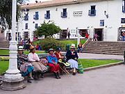 Women in traditional garb, Plaza Regocijo, Cusco, Peru