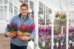 Tom Brown with the hyacinth trial at West Dean