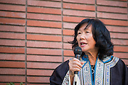 Historian Connie Young Yu shares stories of San Jose-Chinese history during the second part of Rene Yung's installation, City Beneath the City, at the San Jose Institute of Contemporary Art in Downtown San Jose, Calif., on Aug. 30, 2012.  Yu's discussion had attendees touring Downtown San Jose to highlight important landmarks in San Jose-Chinese history.  Photo by Stan Olszewski/SOSKIphoto.