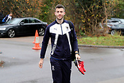 AFC Wimbledon defender Jon Meades (3) arriving for the game during the The FA Cup match between AFC Wimbledon and Charlton Athletic at the Cherry Red Records Stadium, Kingston, England on 3 December 2017. Photo by Matthew Redman.