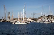 Yachts at moorings in the port, Falmouth, Cornwall, England, UK