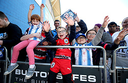 Huddersfield Town fans outside the stadium before the match begins