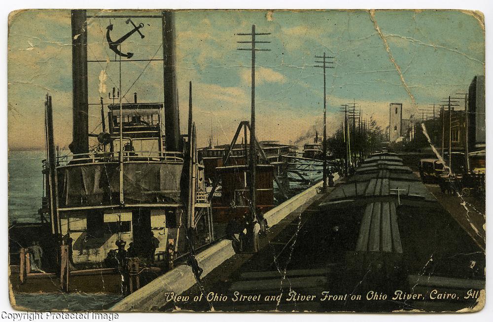 Postcard of Ohio River along Ohio Street in Cairo, Illinois. Postcard date unknown.