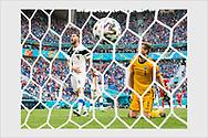 Joona Toivio and Lukas Hradecky after Russia's 0-1 winning goal. Finland - Russia. Euro 2020. Saint Petersburg, Russia, June 16, 2021.