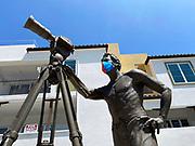 Bruce Brown Sculpture Wearing a Face Mask During Corona Virus Pandemic