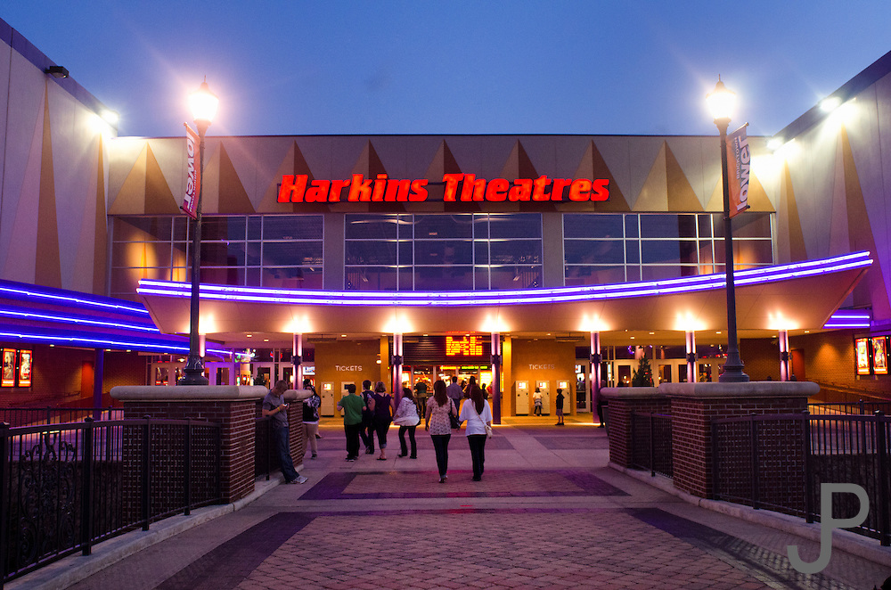 Sunset view of Harkins Theater in Bricktown area of downtown Oklahoma City.