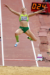 Austra Skujyte of Lithuania during the Long Jump event held as part of the Women's Heptathlon on day 2 of the track and field meet at the Olympic Stadium in Olympic Park in London as part of the London 2012 Olympics on the 3rd August 2012..Photo by Ron Gaunt/SPORTZPICS