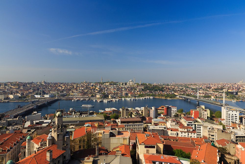 The view towards the Golden Horn from Galata Tower in Istanbul, Turkey. The Golden Horn or Haliç in Turkish is an essential primary waterway and the central inlet of the Bosphorus.