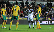 Wilfried Bony looks to the heavens after a near miss for Swansea City.<br /> UEFA Europa league match, Swansea city v FC Kuban Krasnodar at the Liberty Stadium in Swansea, South Wales on Thursday 24th October 2013. pic by Phil Rees, Andrew Orchard sports photography,