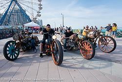 "Custom Harley-Davidson ""Steampunk"" bikes head out after the Boardwalk Classic Bike Show during Daytona Beach Bike Week. Daytona Beach, FL, USA. March 13, 2015.  Photography ©2015 Michael Lichter."