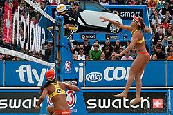 Juliana Felisberta Silva and Larissa Franca of Brazil at A1 Beach Volleyball Grand Slam tournament of Swatch FIVB World Tour 2010, semifinal, on July 31, 2010 in Klagenfurt, Austria. (Photo by Matic Klansek Velej / Sportida)
