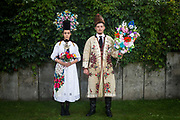 Silke and Phillip are wearing a traditional costume of the Siebenbürgen Sachsen from the region Rode in Fürth, Germany on July 27, 2017.<br /> <br /> The dress was worn every Sunday to church from the engagement that was traditionally around Christmas until the wedding was held in January.