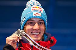 20.03.2010, Planica, Kranjska Gora, SLO, FIS SKI Flying World Championships 2010, Flying Hill Individual Medal Ceremony, im Bild zweitplazierte Gregor Schlierenzauer, ( AUT, #28 ), mit der SilverMedaille, EXPA Pictures © 2010, PhotoCredit: EXPA/ J. Groder / SPORTIDA PHOTO AGENCY