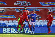 Nottingham Forest's Sammy Ameobi (11) heads clear during the EFL Sky Bet Championship match between Cardiff City and Nottingham Forest at the Cardiff City Stadium, Cardiff, Wales on 2 April 2021.