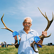 The winner of the Competition and Show of Stags Horns at Exford Horse Show, Exmoor, Somerset, UK.