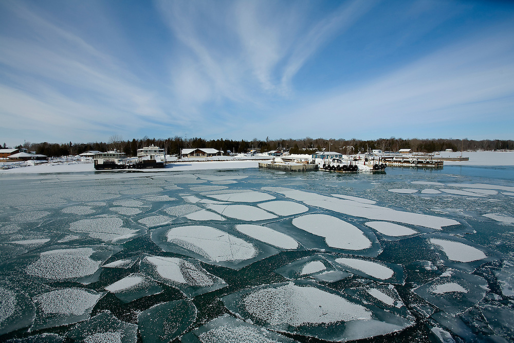 Views from a winter ferry boat ride between the tip of the Door County, Wisconsin peninsula and Washington Island on Lake Michigan.  (Photo by Mike Roemer)