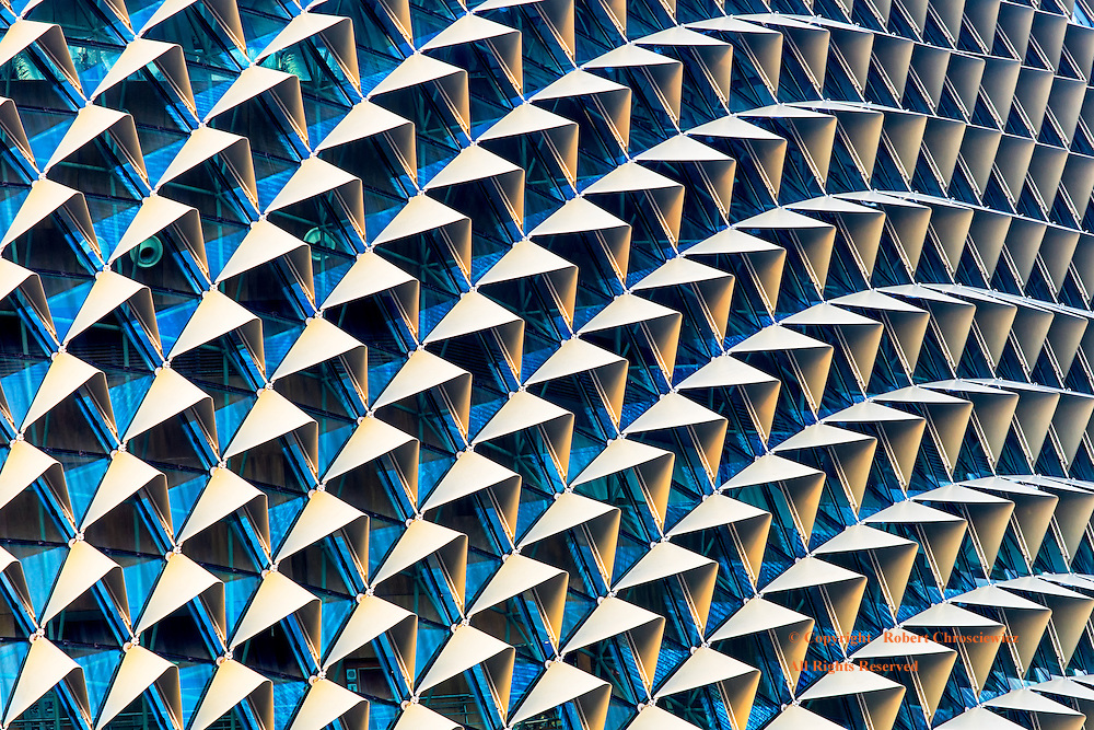 Geometric Durian: The view of the Esplanade -Theaters on the bay, displays an unusual geometric pattern reminiscent of a durian fruit, Singapore.