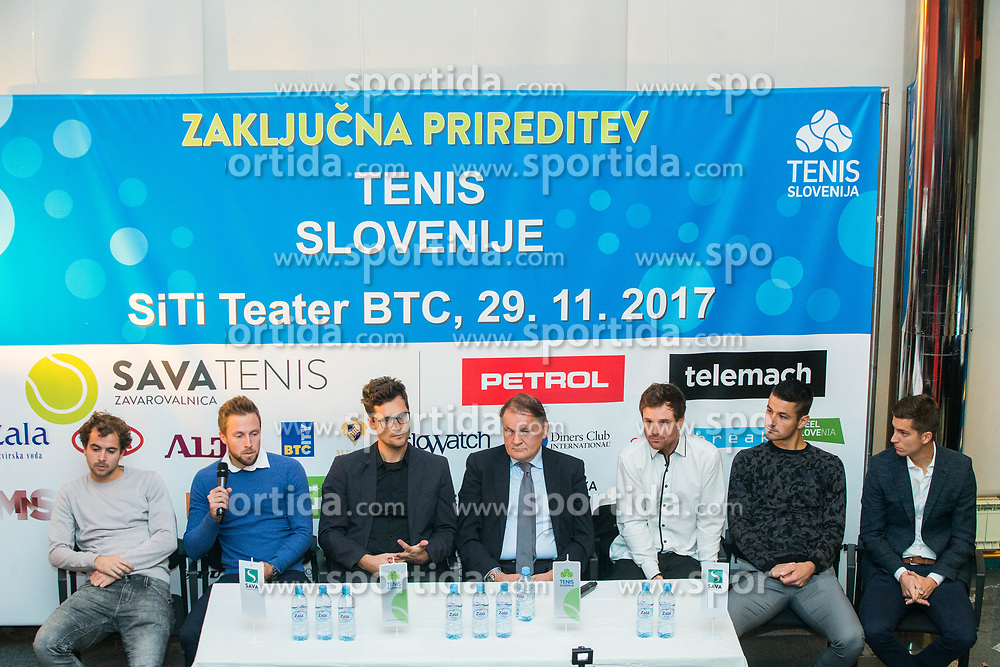 Men Davis Cup team during press conference prior to the Slovenian Tennis personality of the year 2017 annual awards presented by Slovene Tennis Association Tenis Slovenija, on November 29, 2017 in Siti Teater, Ljubljana, Slovenia. Photo by Vid Ponikvar / Sportida