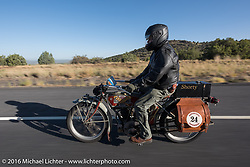 Kelly Modlin of Kansas riding his 1914 Excelsior during the Motorcycle Cannonball Race of the Century. Stage-13 ride from Williams, AZ to Lake Havasu CIty, AZ. USA. Friday September 23, 2016. Photography ©2016 Michael Lichter.