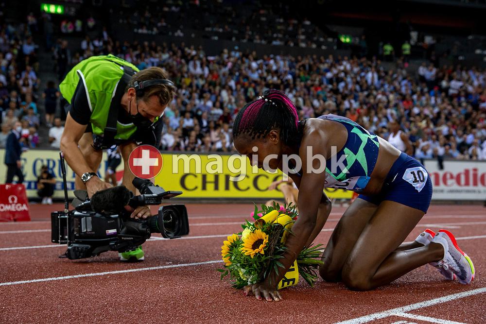 Faith Kipyegon of Kenya reacts after winning the 1500m Women during the Iaaf Diamond League meeting (Weltklasse Zuerich) at the Letzigrund Stadium in Zurich, Switzerland, Thursday, Sept. 9, 2021. (Photo by Patrick B. Kraemer / MAGICPBK)