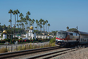 Amtrack Train Rolling Past The Self Realization Fellowship Temple