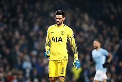 Tottenham Hotspur goalkeeper Hugo Lloris reacts after conceding a fourth goal during the Premier League match at the Etihad Stadium, Manchester.