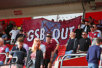 Football - 2021/ 2022 Premier League - Southampton vs. West Ham United - St Mary's Stadium - Saturday 11th August<br /> <br /> West Ham fans after the final whistle with a small protest over there owners at St Mary's Stadium Southampton<br /> <br /> COLORSPORT/Shaun Boggust