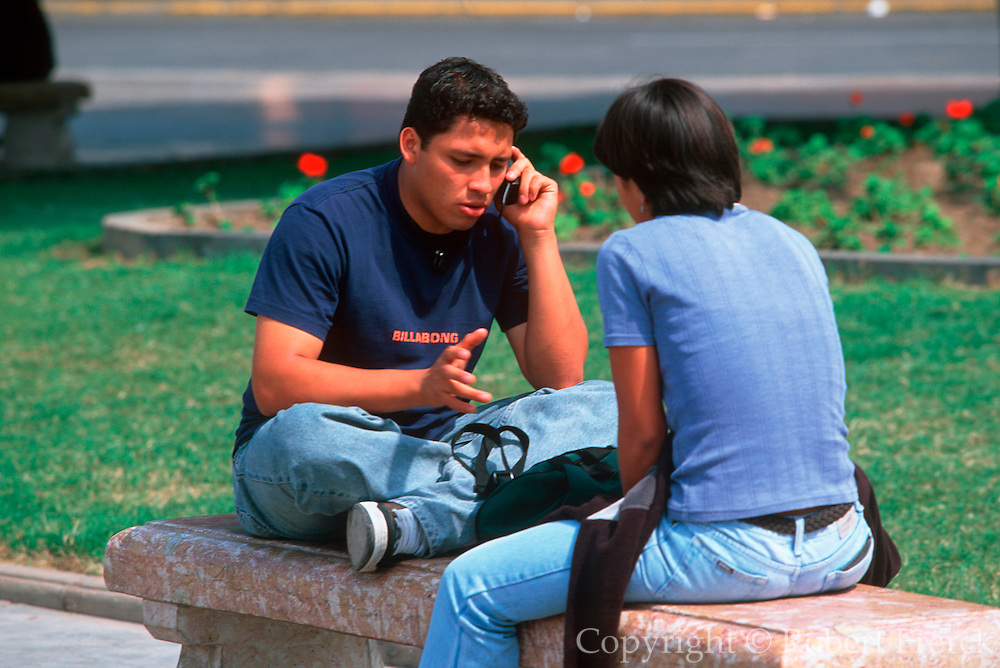 PERU, TRUJILLO a colonial city on Peru's north coast; students gathering in the Plaza de Armas