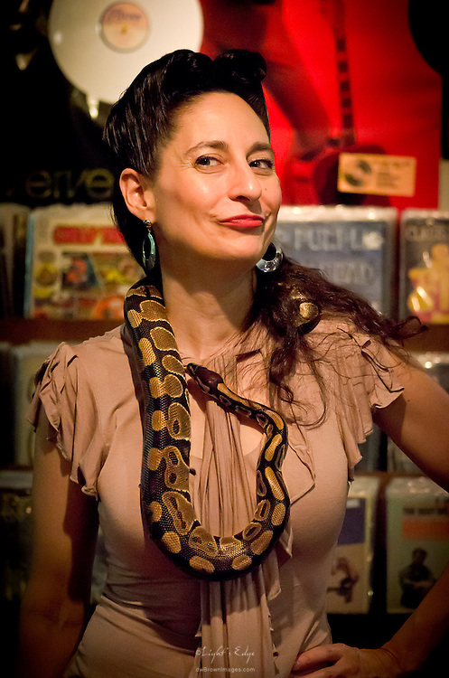 April Mae, of The June Bugs, was but one of many that did the Ball Python around their neck thing. This was at The Bus Stop Music Cafe during the Uptown Pitman Music & Arts Festival.