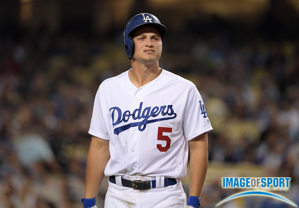 Sep 6, 2016; Los Angeles, CA, USA; Los Angeles Dodgers shortstop Corey Seager (5) reacts during a MLB game against the Arizona Diamondbacks at Dodger Stadium.