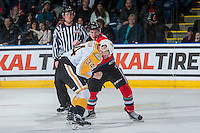 KELOWNA, CANADA - DECEMBER 3: Konrad Belcourt #5 of the Kelowna Rockets drops the gloves with Blake Jameson #34 of the Brandon Wheat Kings during second period on December 3, 2016 at Prospera Place in Kelowna, British Columbia, Canada.  (Photo by Marissa Baecker/Shoot the Breeze)  *** Local Caption ***