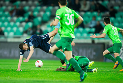 Andrija Filipovic of Gorica vs Julius Wobay of NK Olimpija during football match between NK Olimpija Ljubljana and ND Gorica in Round #26 of Prva liga Telekom Slovenije 2016/17, on March 29, 2017 in SRC Stozice, Ljubljana, Slovenia. Photo by Vid Ponikvar / Sportida
