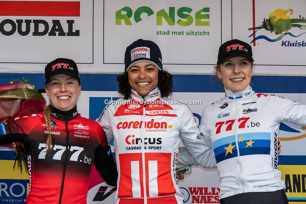 2019-12-14 Cycling: dvv verzekeringen trofee: Ronse: Ceylin Alvarado wins the Hotondcross ahead of Annemerie Worst and Yara Kastelijn