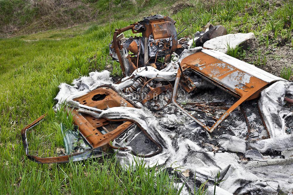 burned down plastic car