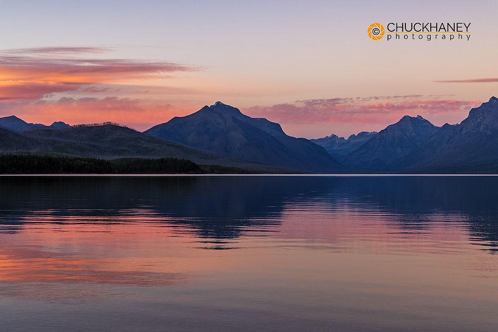 Sunset over Lake McDonald in Glacier National Park, Montana, USA