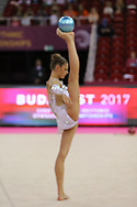 Alexandra Soldatova, Russia, during day one of the 33rd European Rhythmic Gymnastics at Papp Laszlo Budapest Sports Arena, Budapest, Hungary on 19 May 2017. Photo by Myriam Cawston.