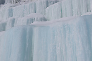 A closeup of the color and texture of the ice curtains of Grand Island, Michigan's Upper Peninsula